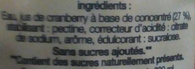 Cranberry classic light - Ingredients