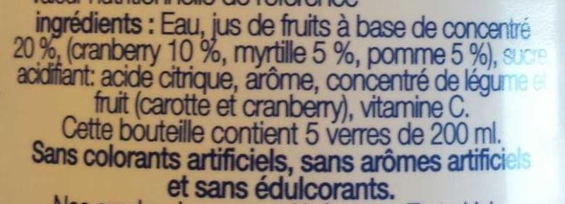 Cranberry Myrtilles - Ingredients