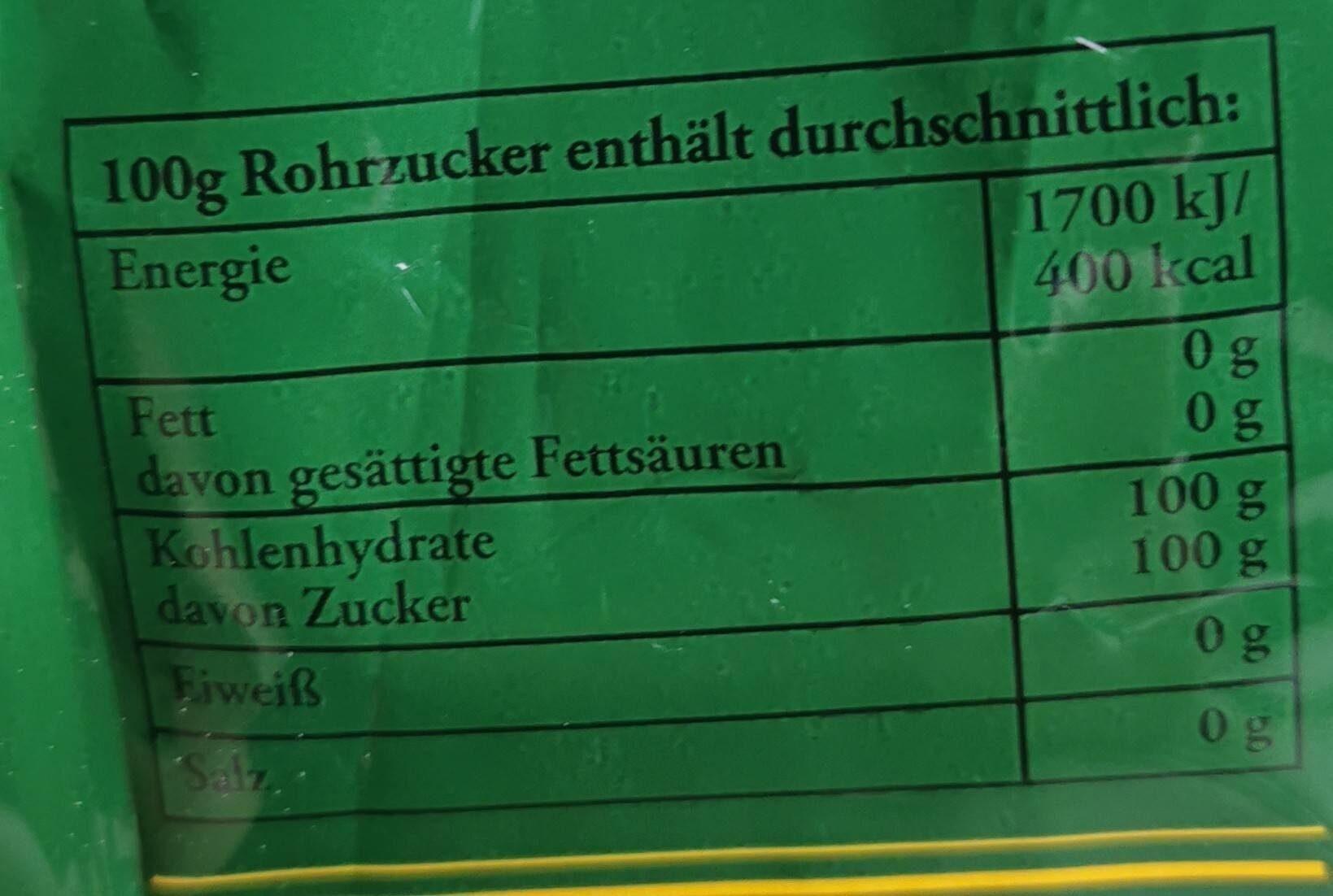 Brauner Rohrzucker - Informations nutritionnelles - de