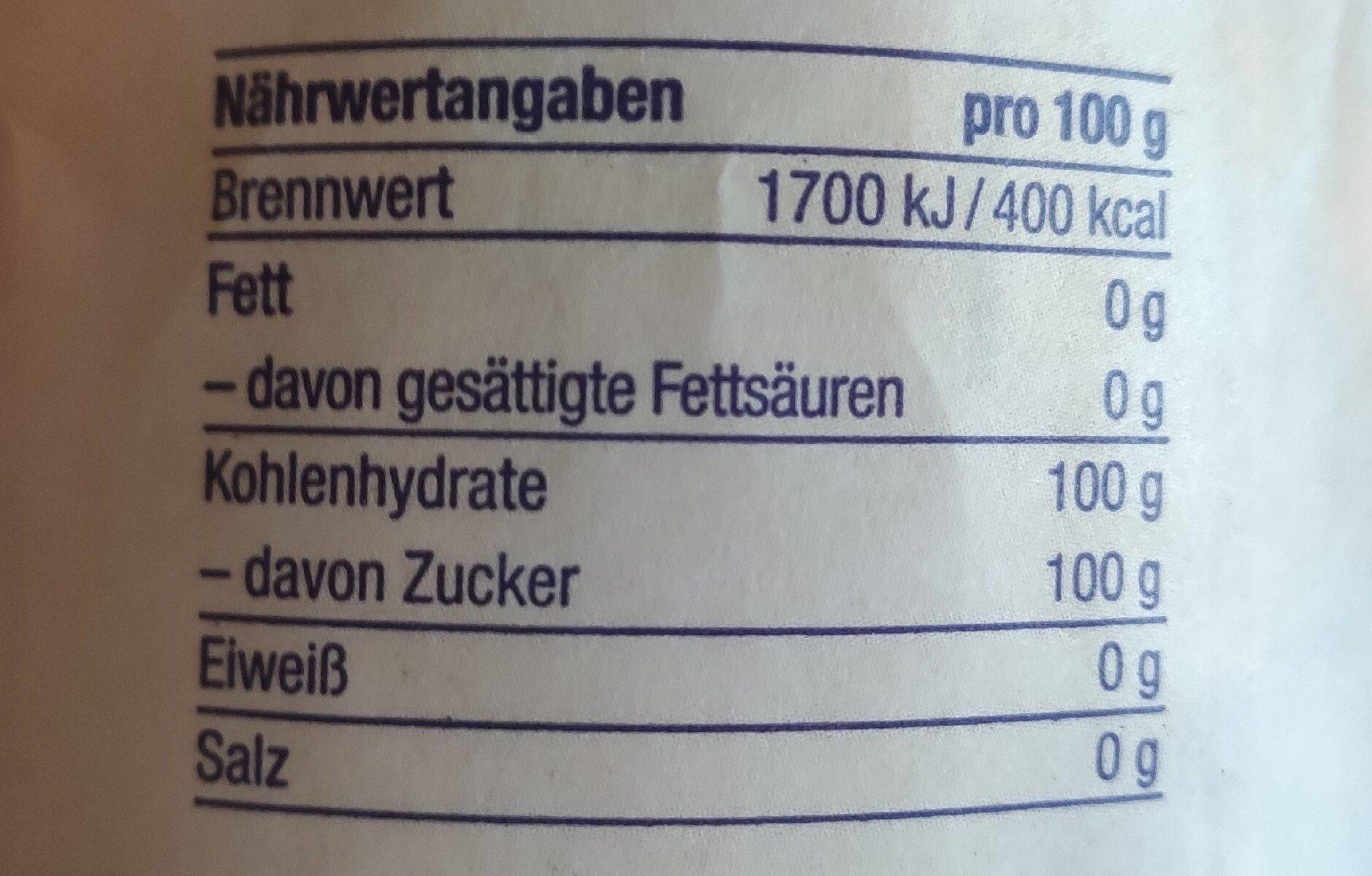 Bio Zucker - Nutrition facts - de