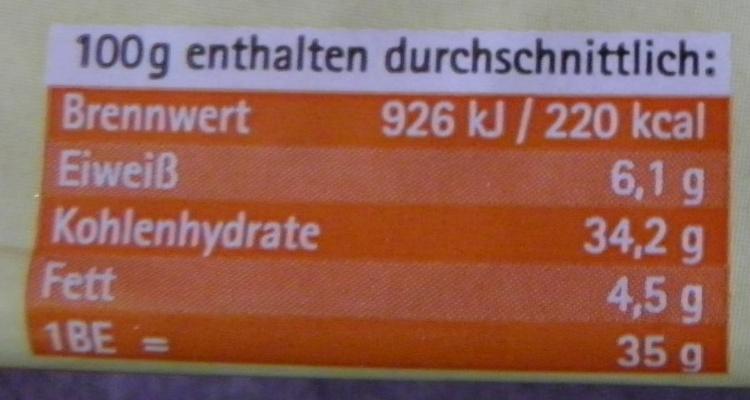 Sonnenblumen Brot - Informations nutritionnelles - fr