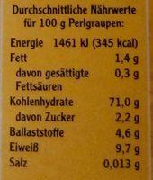 Perlgraupen mittel - Nutrition facts