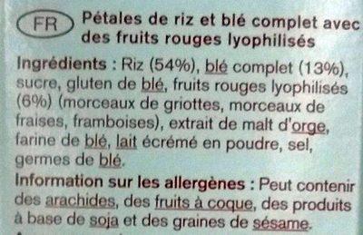 Multifit - Multigrain Flakes Fruits rouges - Ingredients