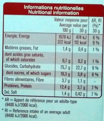 Multifit - Multigrain Flakes Fruits rouges - Nutrition facts