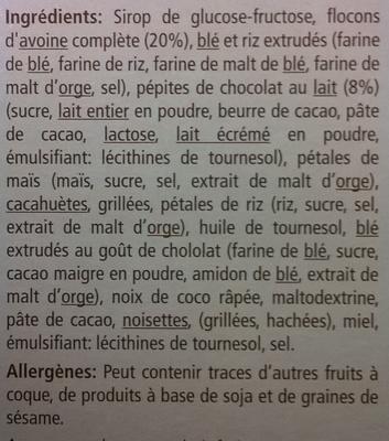 Barres de céréales au chocolat - Ingredients