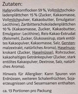 Gourmet Müsli Schoko - Ingredients