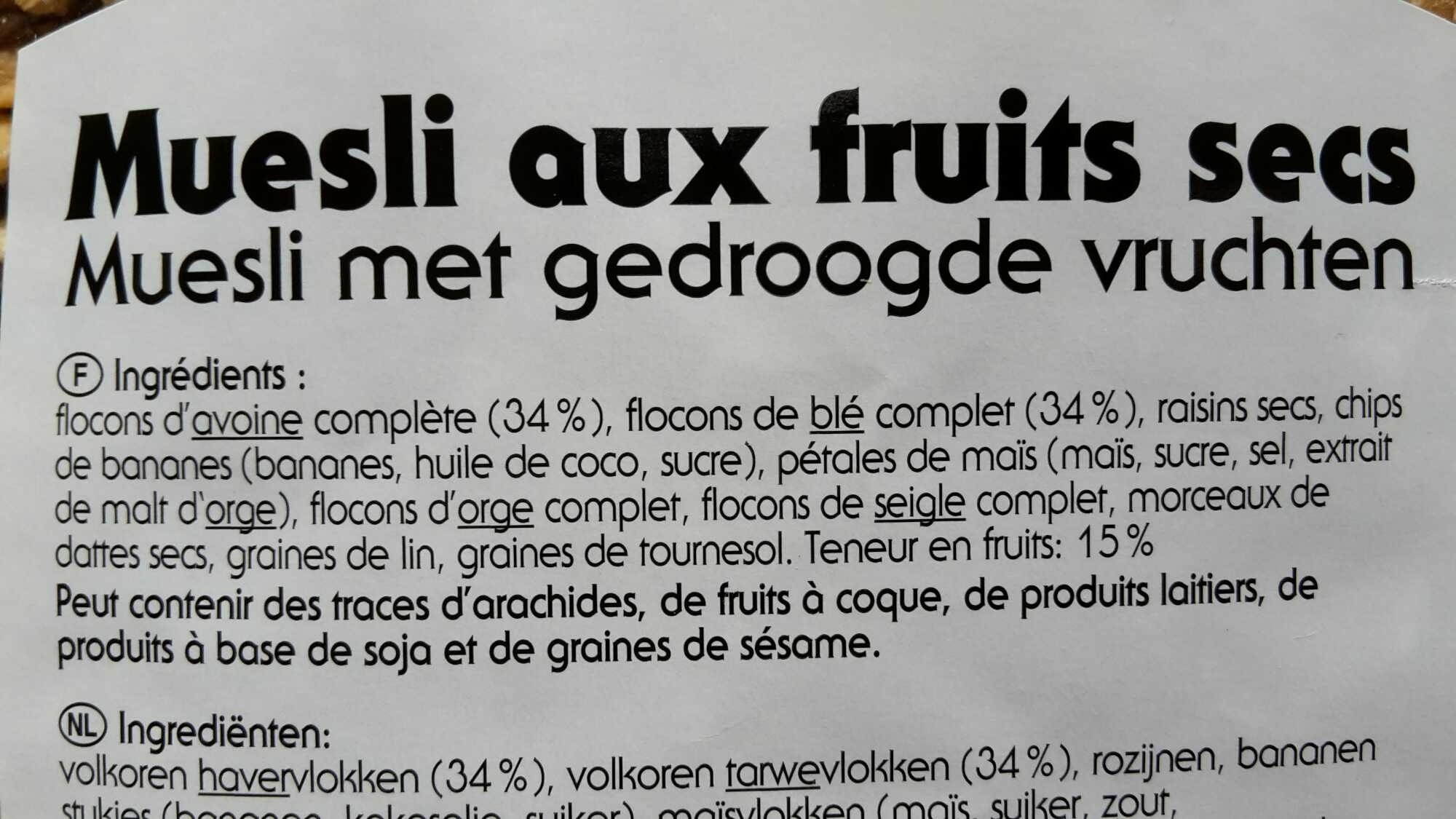 Muesli aux fruits secs - Ingrédients - fr