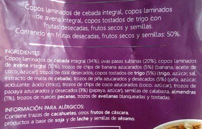 Muesli 50% frutas y frutos secos - Ingredientes