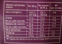 Muesli 50% frutas y frutos secos - Información nutricional