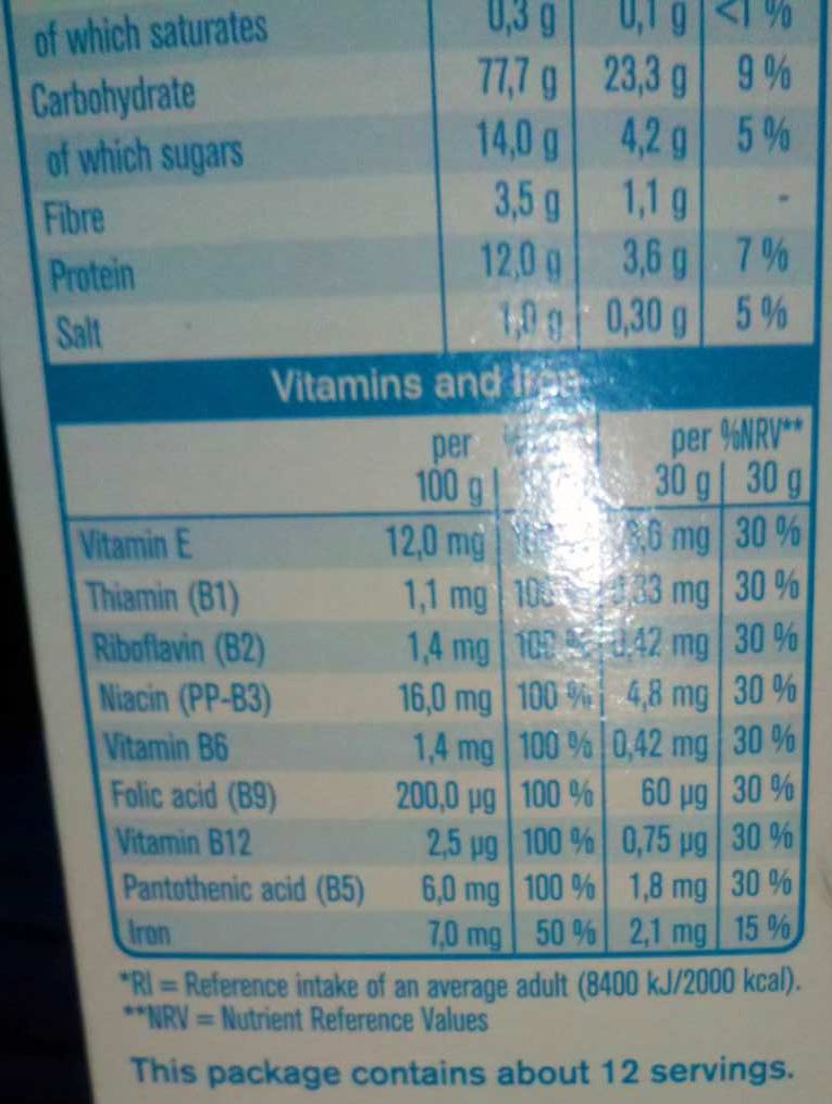 Multigrain Flakes Classic - Nutrition facts