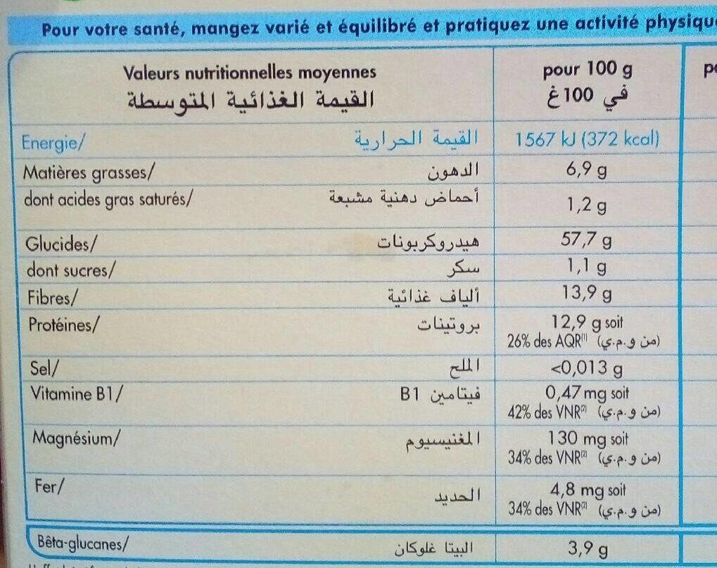 Flocons d'Avoine - Voedingswaarden - fr