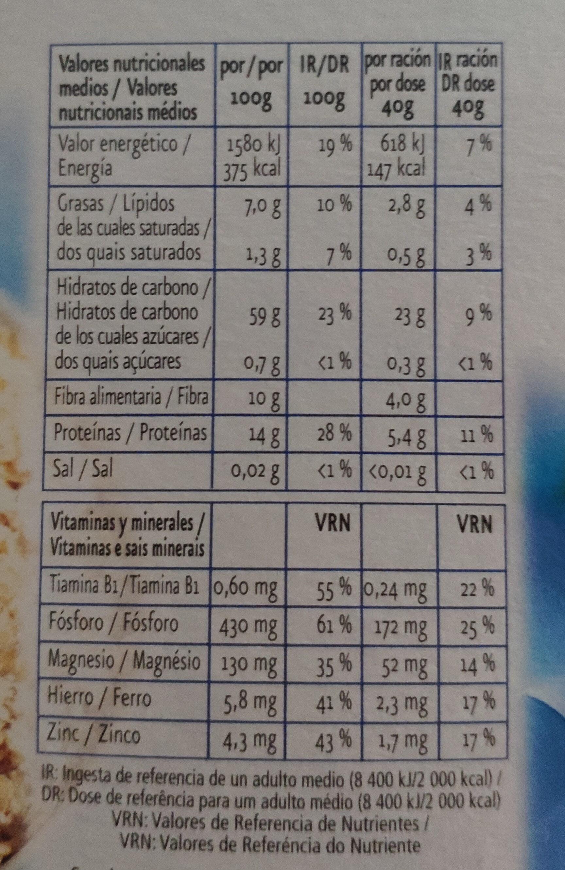 Copos de avena extra suaves - Información nutricional - es