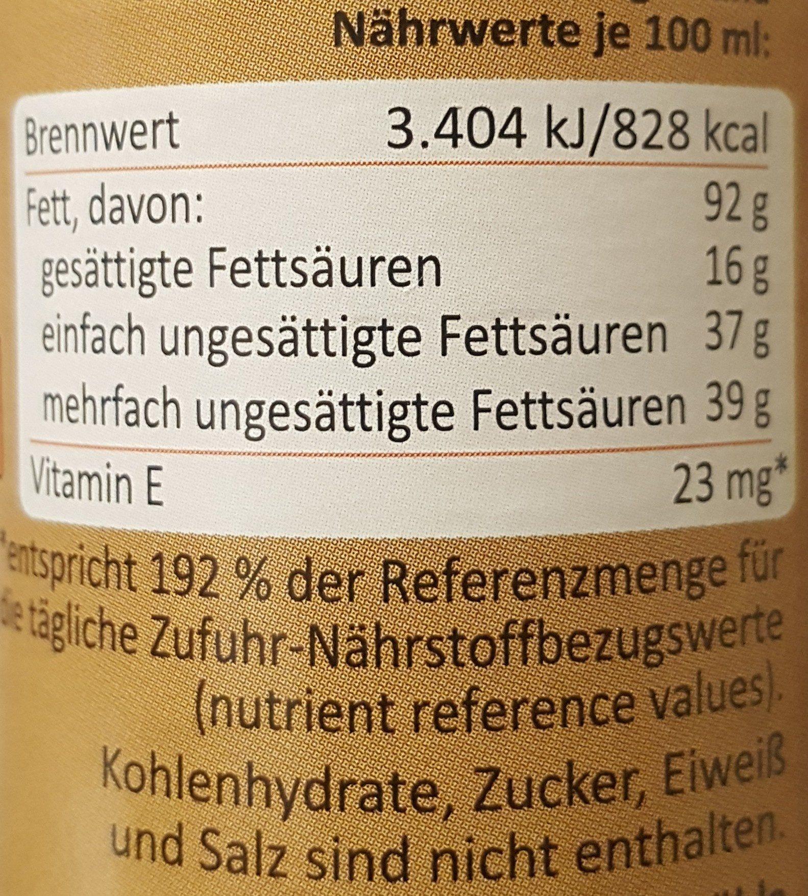 Steirisches Kürbiskernöl - Informations nutritionnelles