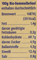Bio Semmelbrösel - Voedingswaarden