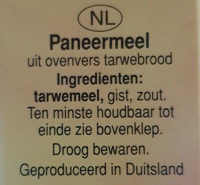 Paniermehl (Paneermeel) - Ingredients - nl
