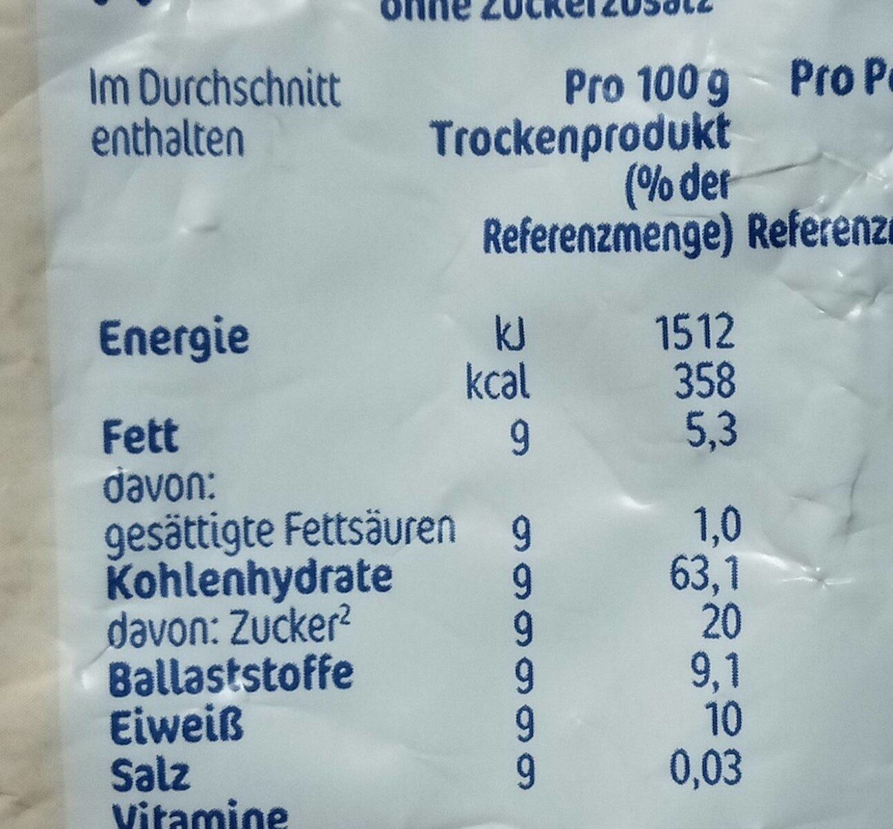 Kindermüsli - Nutrition facts - de