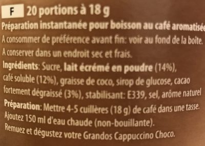 Cappuccino choco - Ingredients