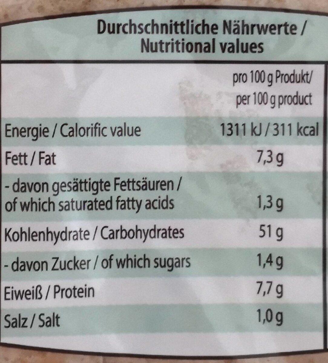Wraps Mehrkorn mit Leinsamen - Nährwertangaben - de