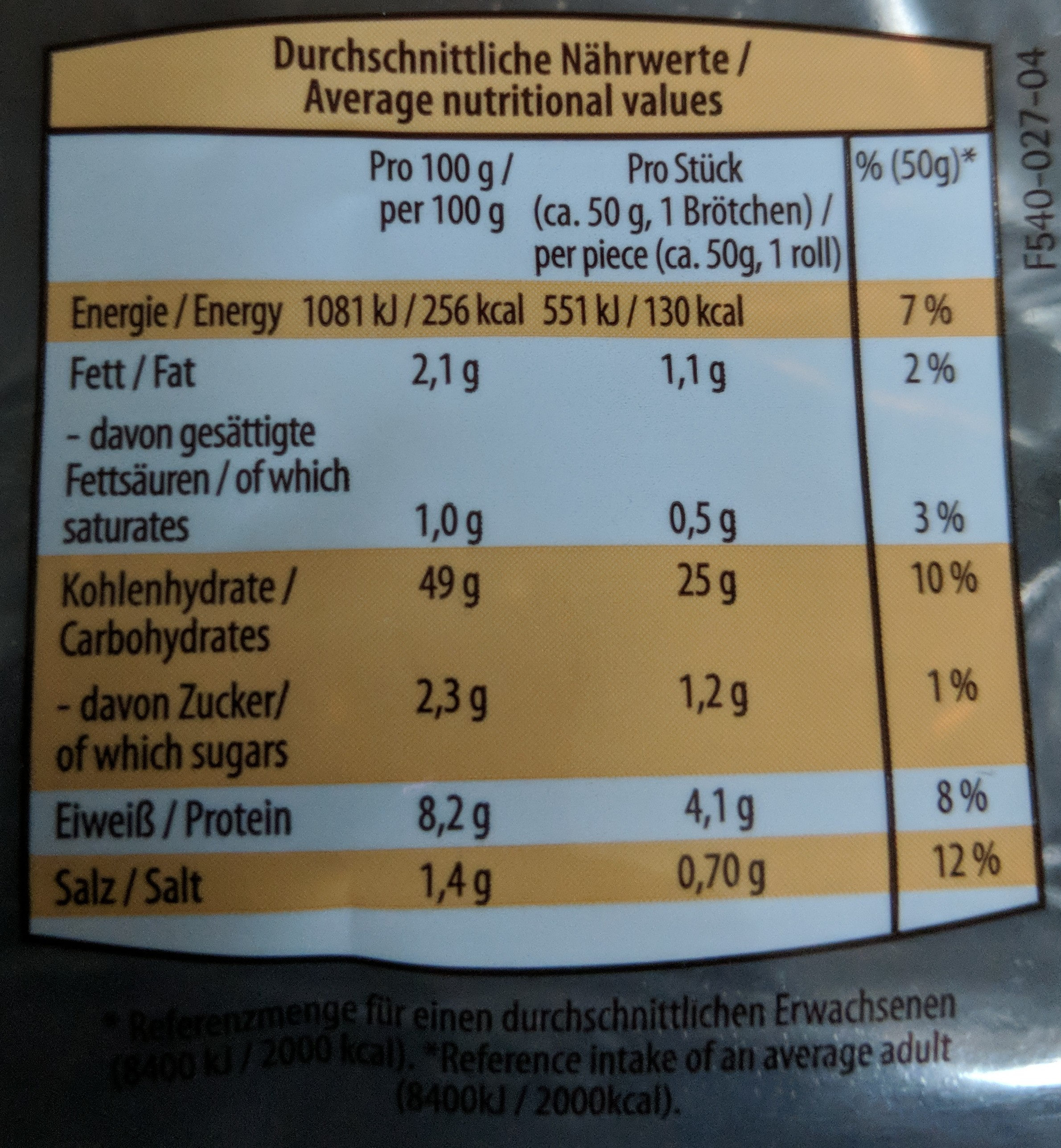 Kaiserbrötchen - Informations nutritionnelles