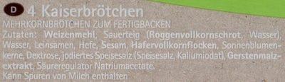 Kaiserbrötchen - Ingrédients - de