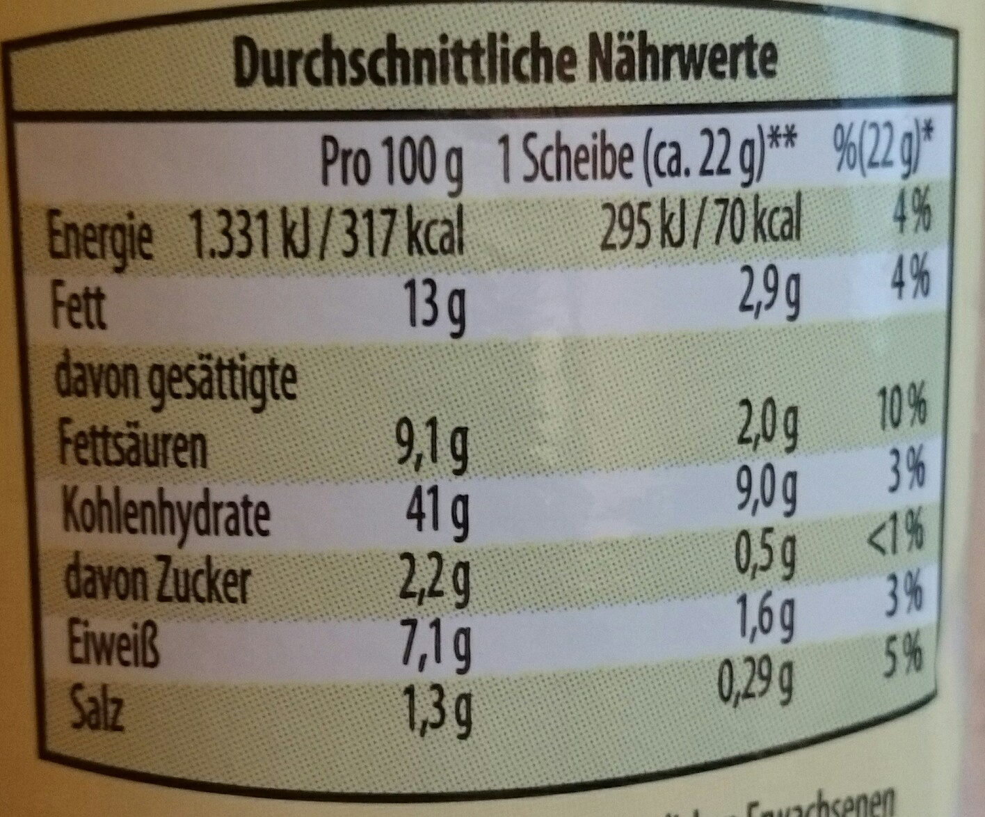 Kräuter-Baguette - Voedingswaarden - de