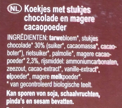 American Style Cookies Schokolade - Ingrediënten - nl
