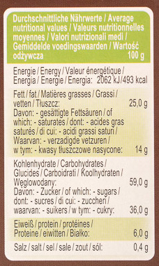 American Style Cookies Schokolade - Nutrition facts