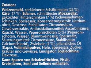 Steinofen Pizza Schinken Diavolo - Inhaltsstoffe