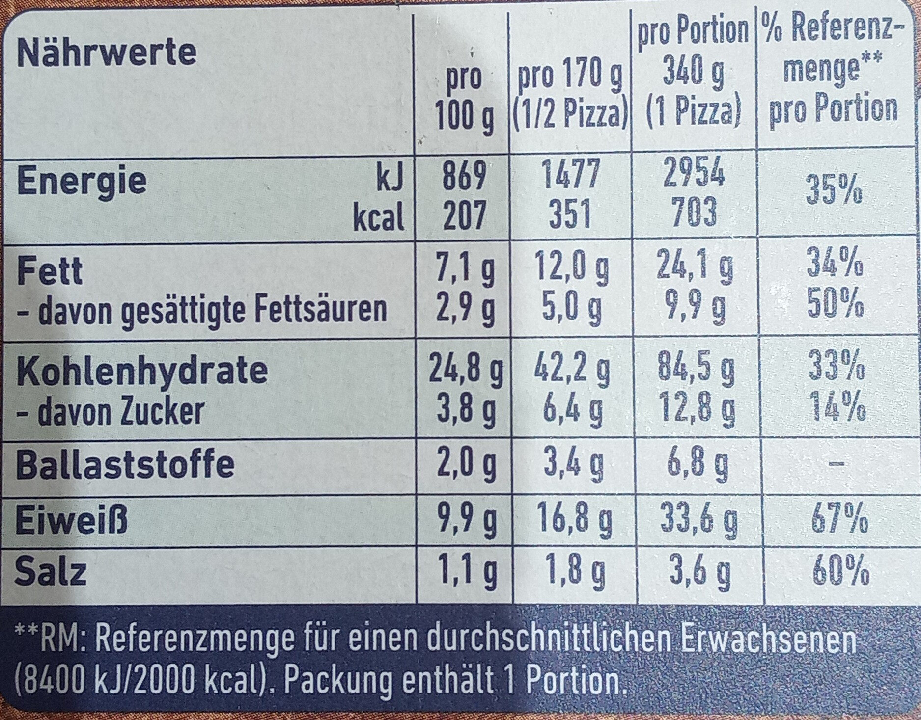 Steinofen Pizza Schinken Diavolo - Nährwertangaben - de