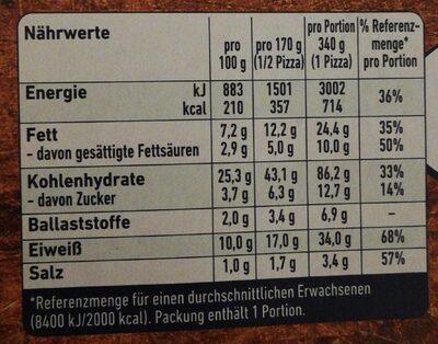 Steinofen - Nährwertangaben - de