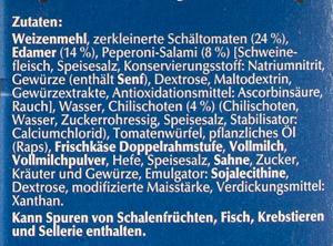 Steinofen Pizza Salami Diavolo - Inhaltsstoffe - de