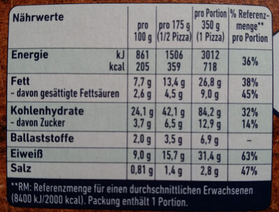 Steinofen Pizza Lachs Spinat - Nutrition facts - de