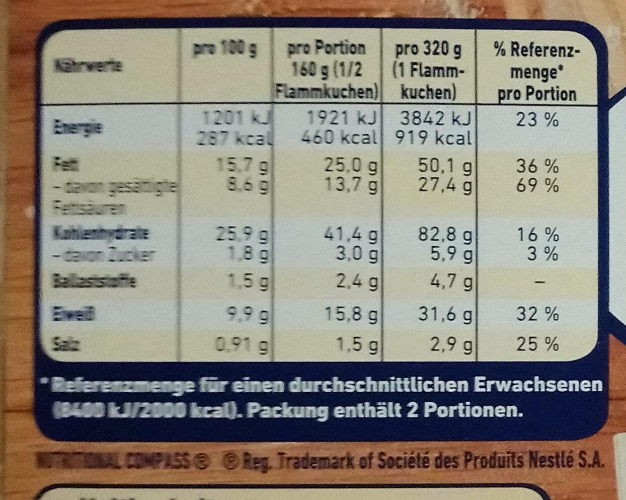 herzhafter Flammkuchen Käse & Lauch - Nutrition facts