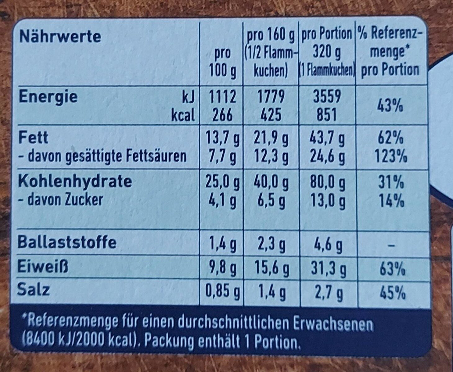 Herzhafter Flammkuchen Käse & Lauch - Valori nutrizionali - de
