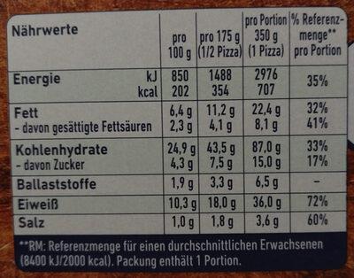 Steinofen Pizza Chicken - Nährwertangaben - de