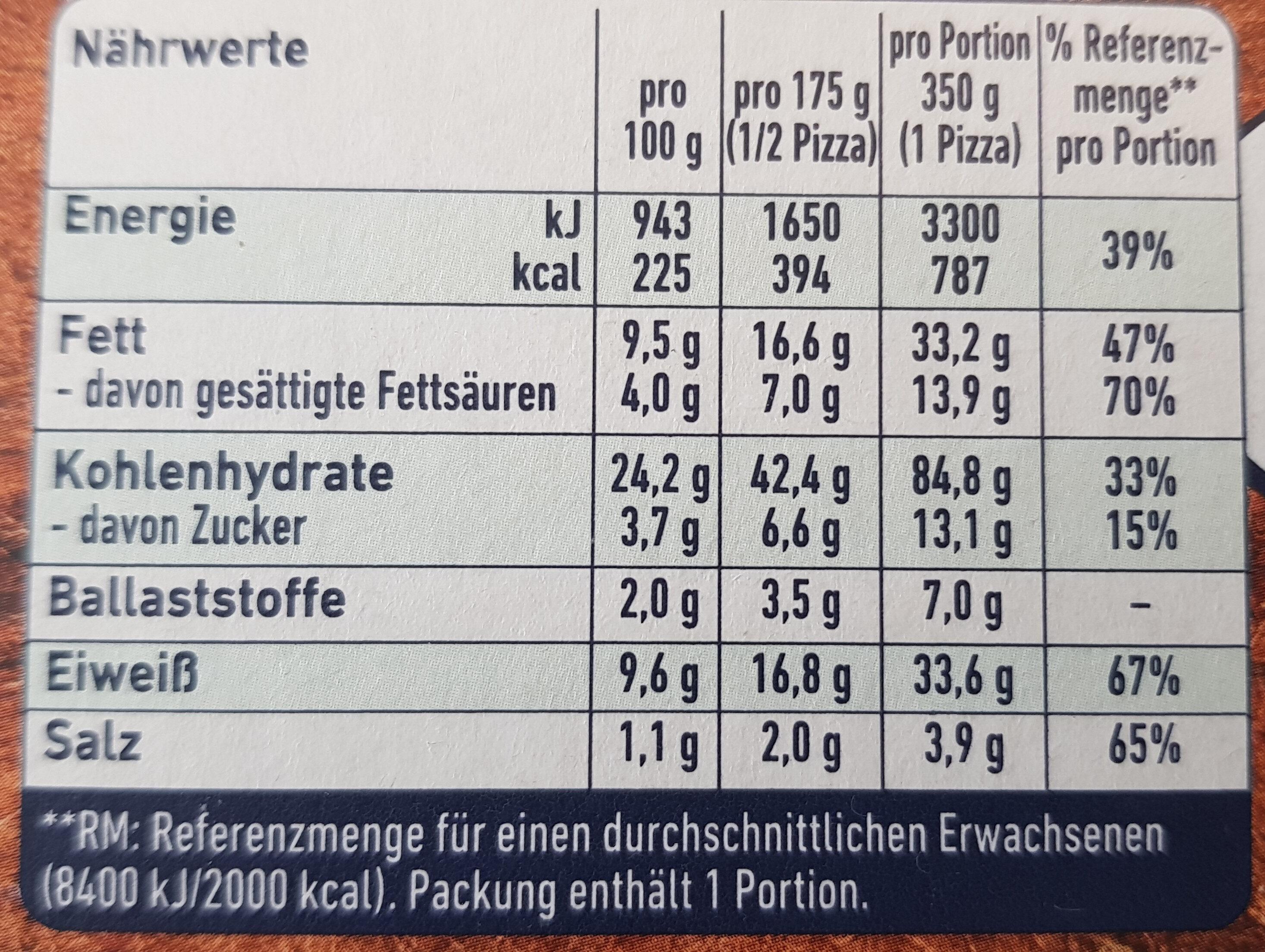 Steinofen Diavolo - Informations nutritionnelles - de
