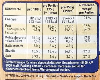 Steinofen Pizza Mozzarella - Informations nutritionnelles - de