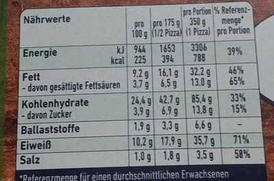 Steinofen Mozzarella - Informations nutritionnelles - de