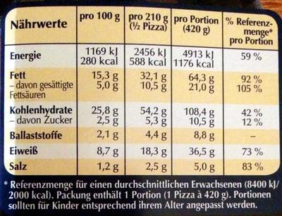 Big Pizza Boston Frischkäse-Spinat - Nährwertangaben