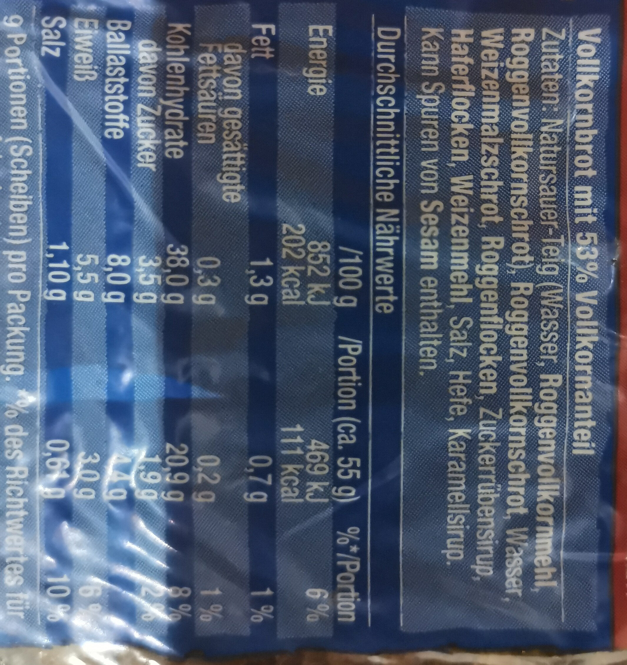Kraft Klotz - Ingredients - de