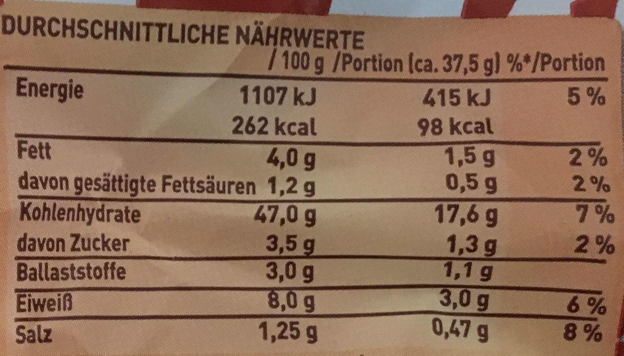 American Sandwich - Nutrition facts - de