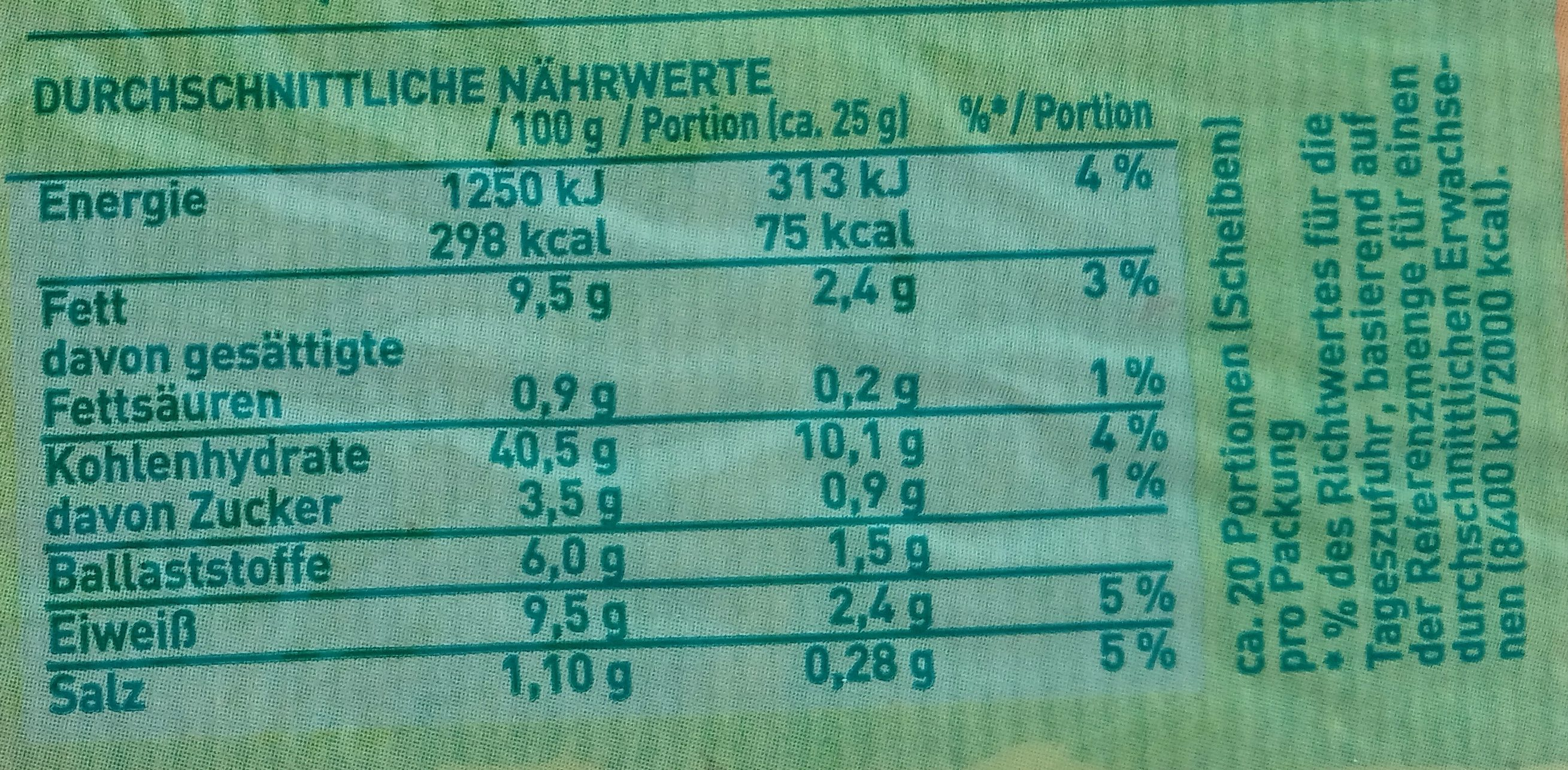 Korner Harmonie - Nutrition facts