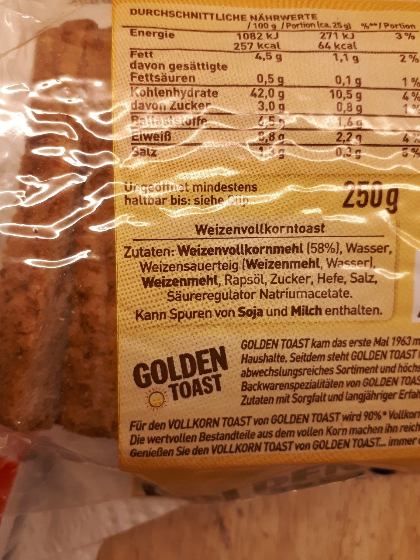 Golden Toast Vollkorn Toast - Ingredients
