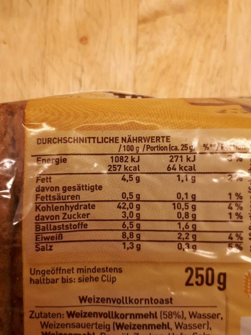Golden Toast Vollkorn Toast - Nutrition facts