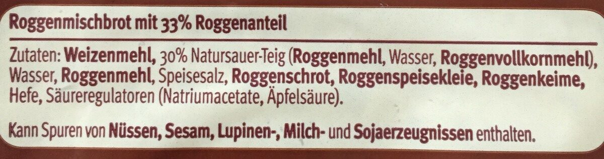 Anno Dazumal Roggenmischbrot - Ingrediënten - de