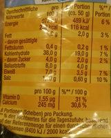 Mampfred das Pausenbrot - Informations nutritionnelles - de