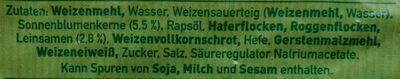 Mehrkorn Toastbrot - Ingredients - de