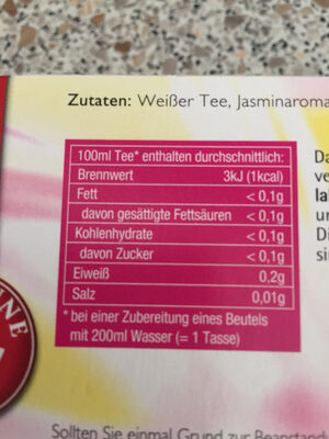 Weißer Tee - Nutrition facts - de