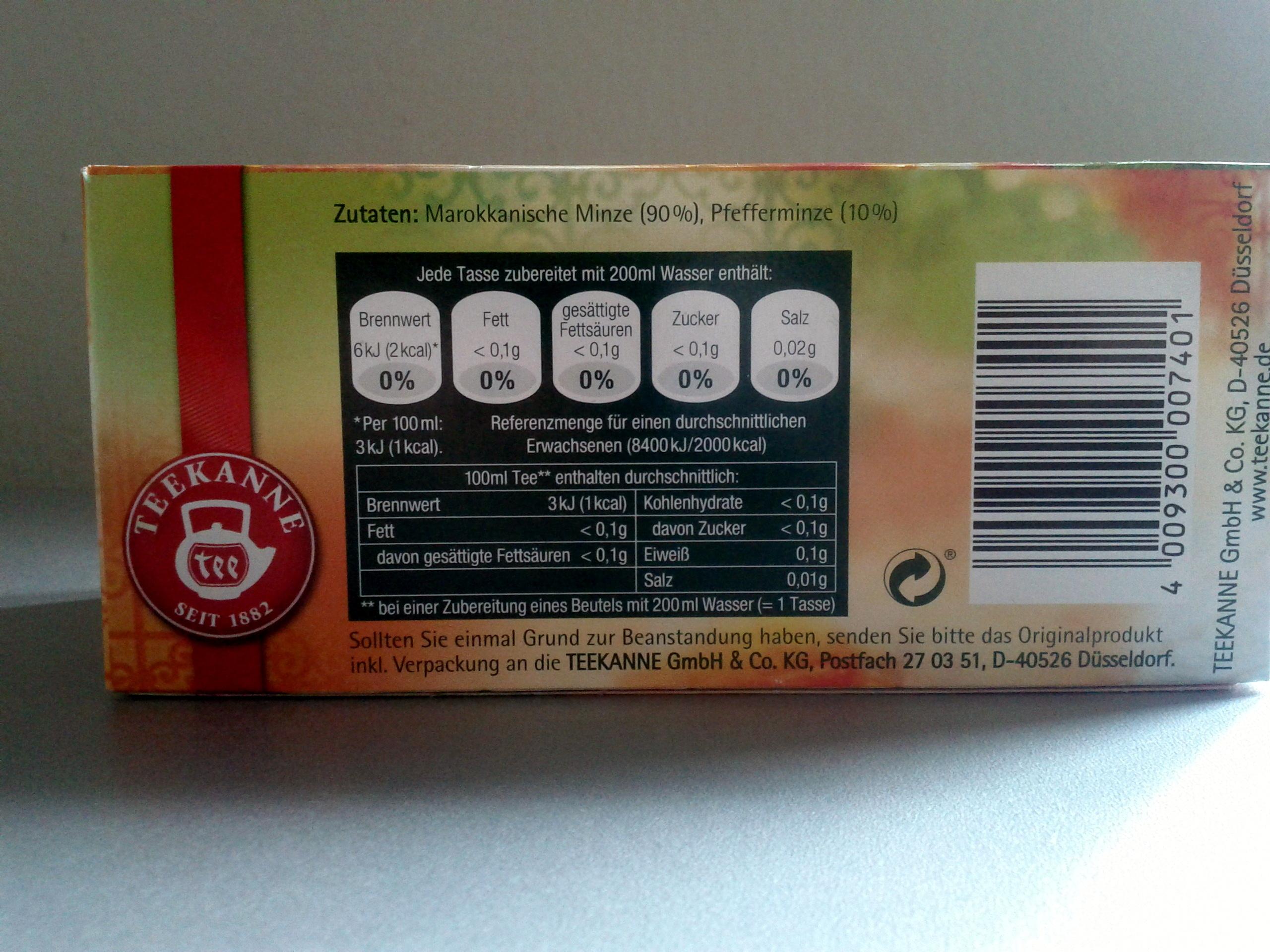 Marokkanische Minze - Informations nutritionnelles - de