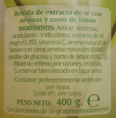 Té al limón - Ingrediënten - fr